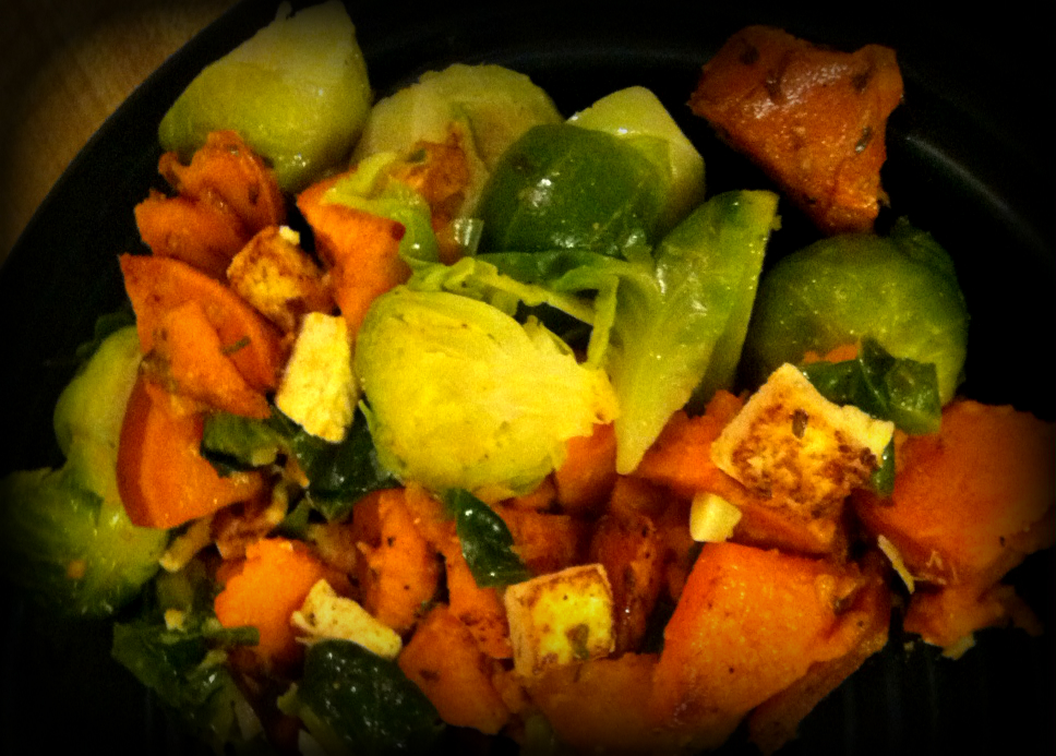 Sweet potato brussel tofu scramble