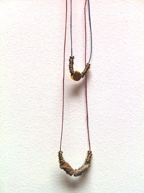 fulgurite with brass beads.