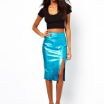Asos Leather Metallic Pencil Skirt
