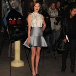 Kate Bosworth opts for silver metallic on the bottom.