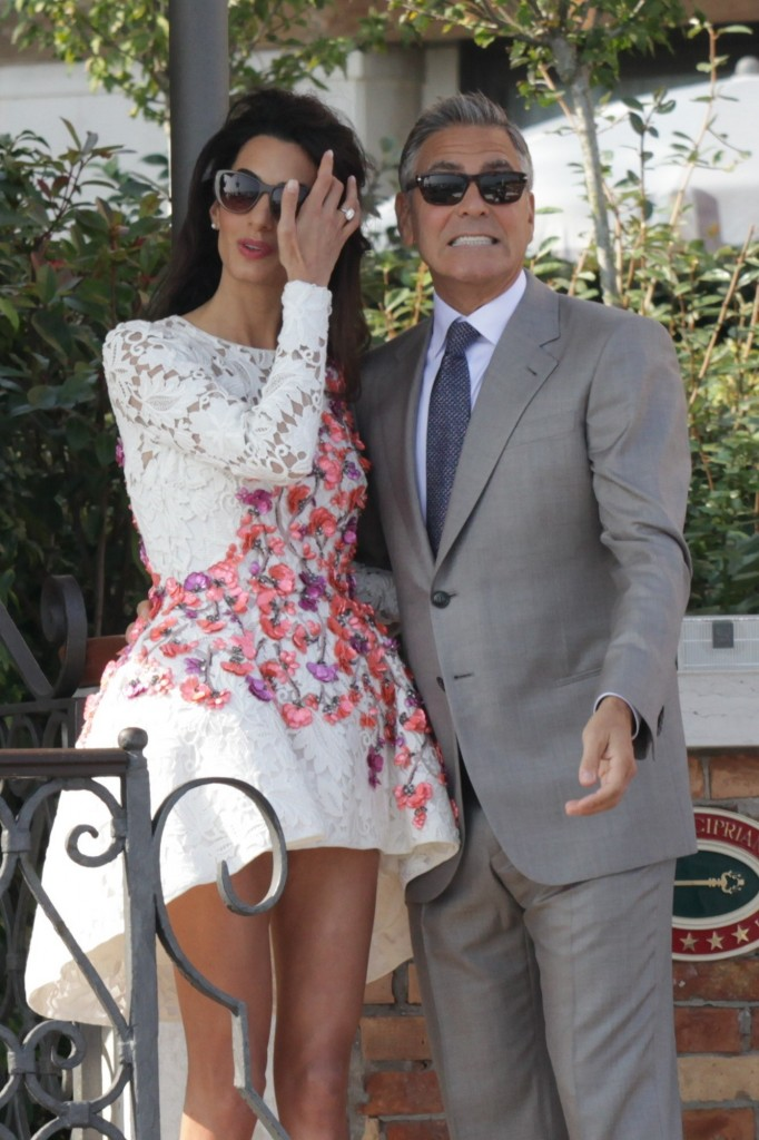 George Clooney and Amal Alamuddin leave The Aman Canal Grande Hotel