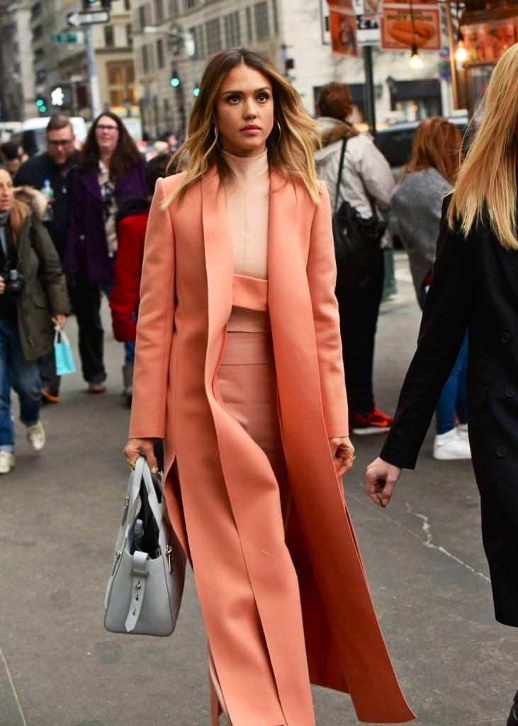 Jessica Alba Narciso Rodriguez Peach Coat