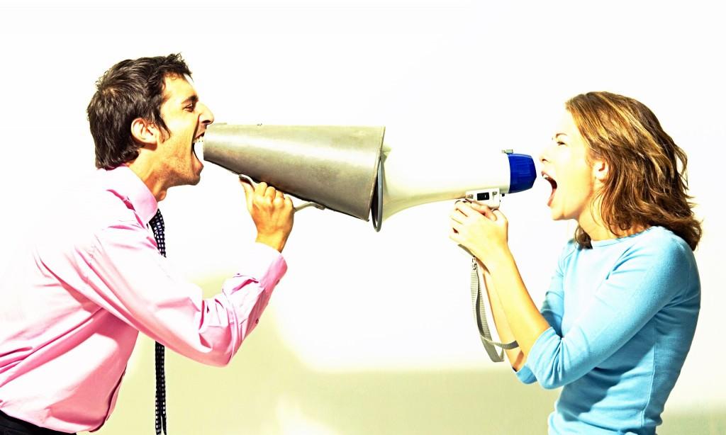 man and woman shouting