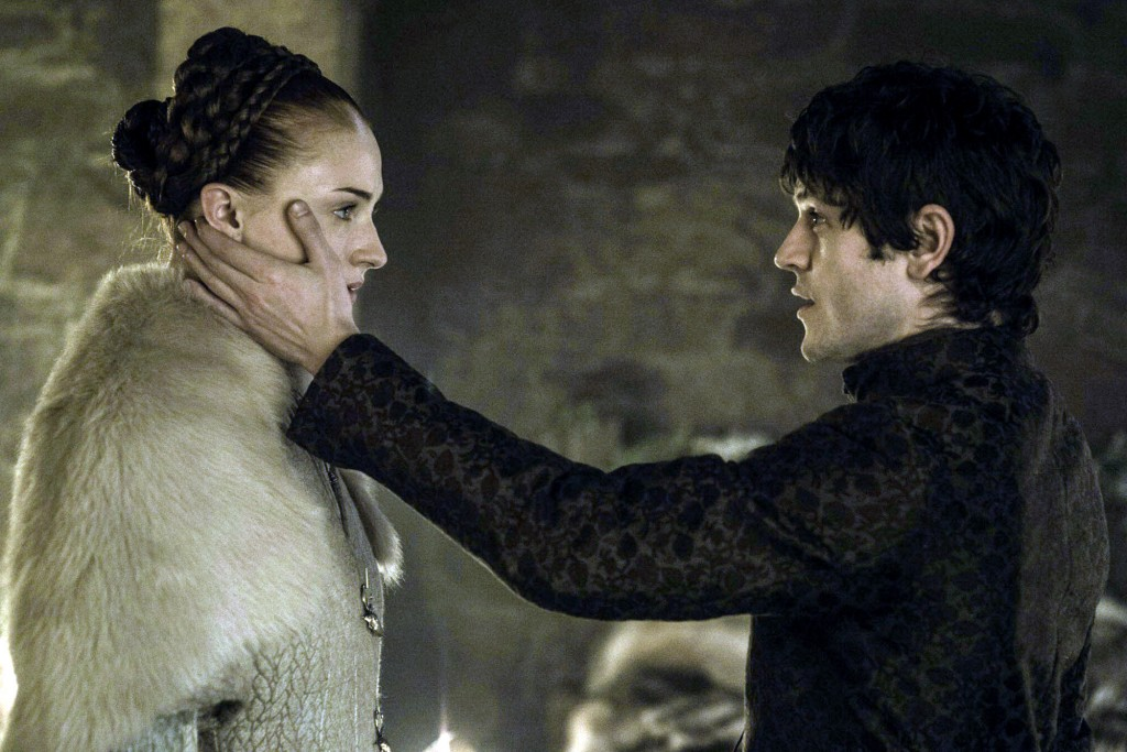 TV STILL - Game of Thrones Season 5 Episode 6  Pictured: Sophie Turner as Sansa Stark, Iwan Rheon as Ramsay Bolton Photographer: Helen Sloan/HBO