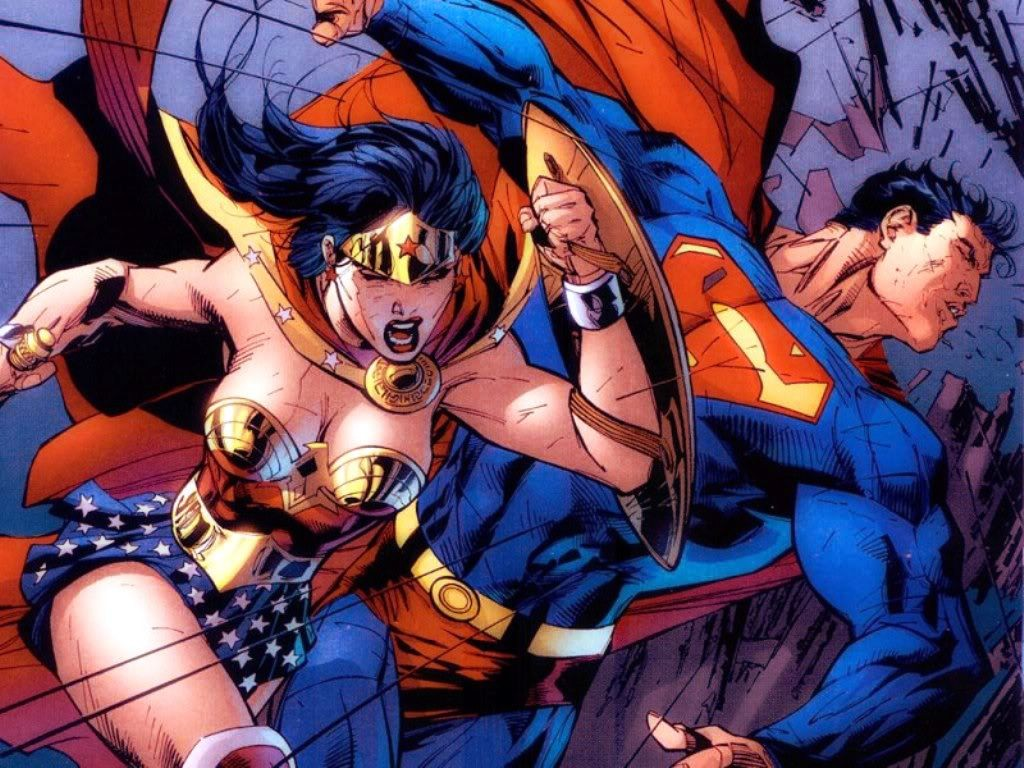 Wonder Woman punching Superman in the face