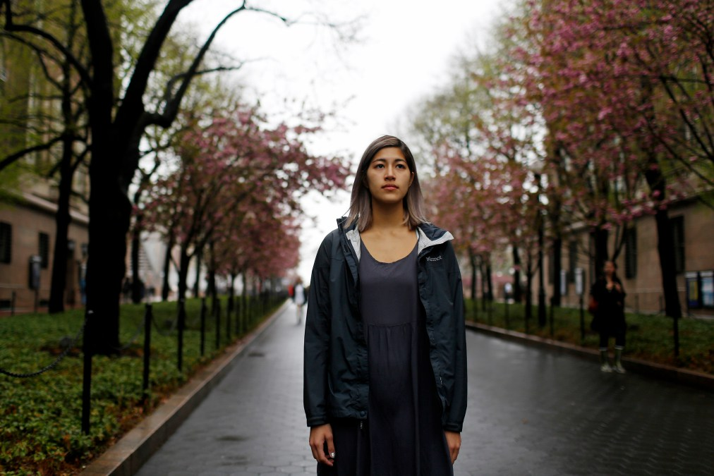 Emma Sulkowicz, who is speaking out about her experience with sexual assault at Columbia University, in New York, May 1, 2014. Activists are using media exposure and legal tactics to force universities to change their approach to campus sexual assault, which means paying attention to an unfamiliar set of duties more akin to social work and criminal justice than education. (Kirsten Luce/The New York Times)