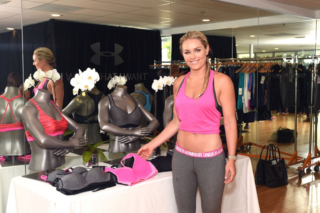 WEST HOLLYWOOD, CA - JULY 14:  Under Armour Athlete Lindsey Vonn attends Under Armour Bra Launch at Body By Simone on July 14, 2015 in West Hollywood, California.  (Photo by Stefanie Keenan/Getty Images for Under Armour)