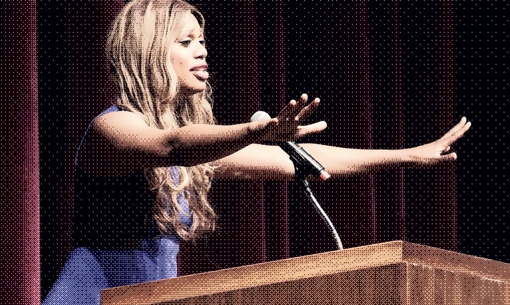 activist laverne cox speaking from a podium