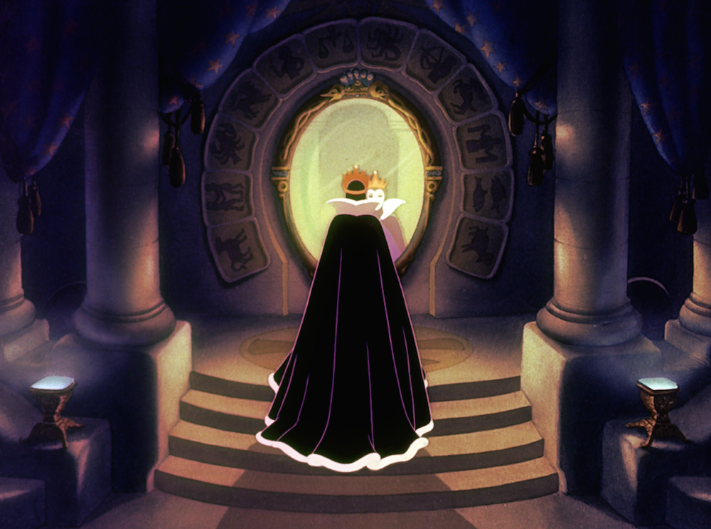 evil queen from snow white looking in mirror