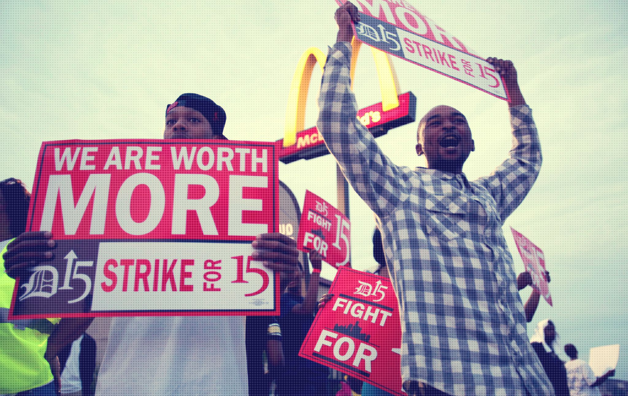 fast food workers striking for wage increase