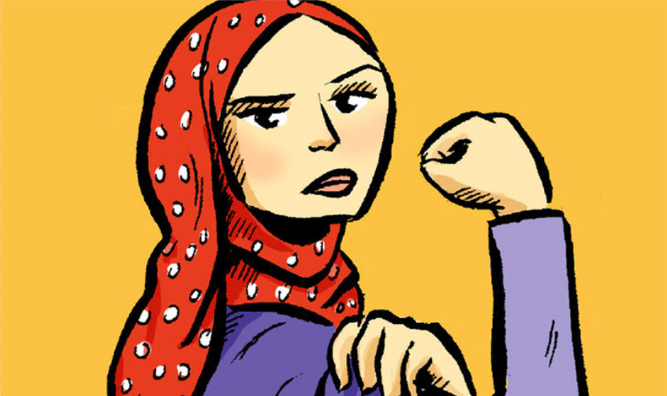 drawing of woman with hijab inspired by Rosie the Riveter
