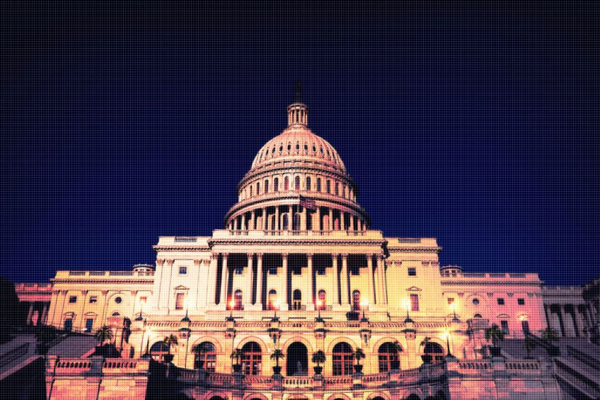 Capitol building Washington DC nightfall USA US congress