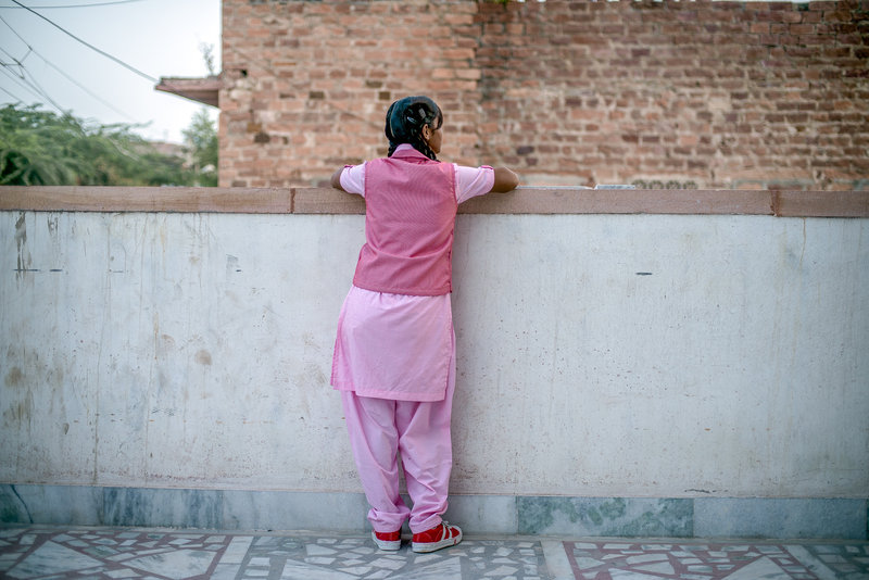 Nimmu on the terrace of the Veerni Institute. (Photo Credit: Poulomi Basu/VII Photo for NPR)