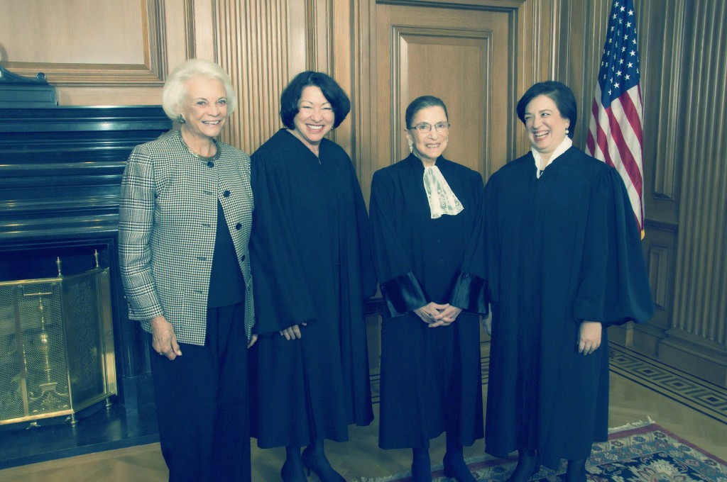 From left to right:  Justice Sandra Day O'Connor, (Ret.), Justice Sonia Sotomayor, Justice Ruth Bader Ginsburg & Justice Elena Kagan in the Justices' Conference Room prior to Justice Kagan's Investiture.