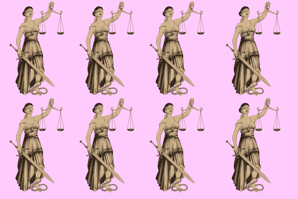 pattern of blind justice on a pale pink background