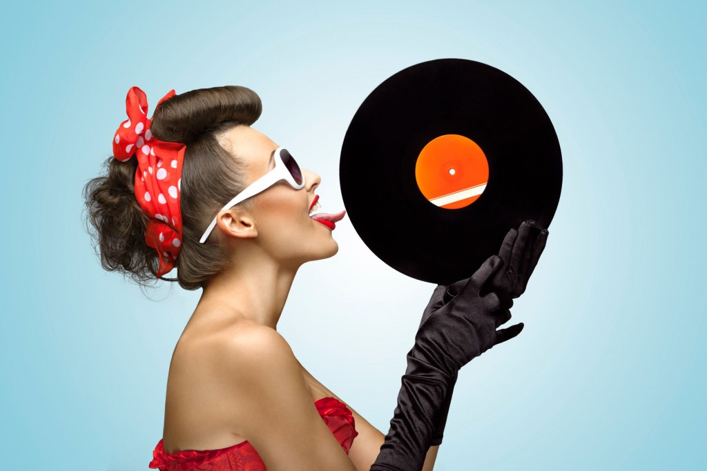pin-up girl with vinyl record