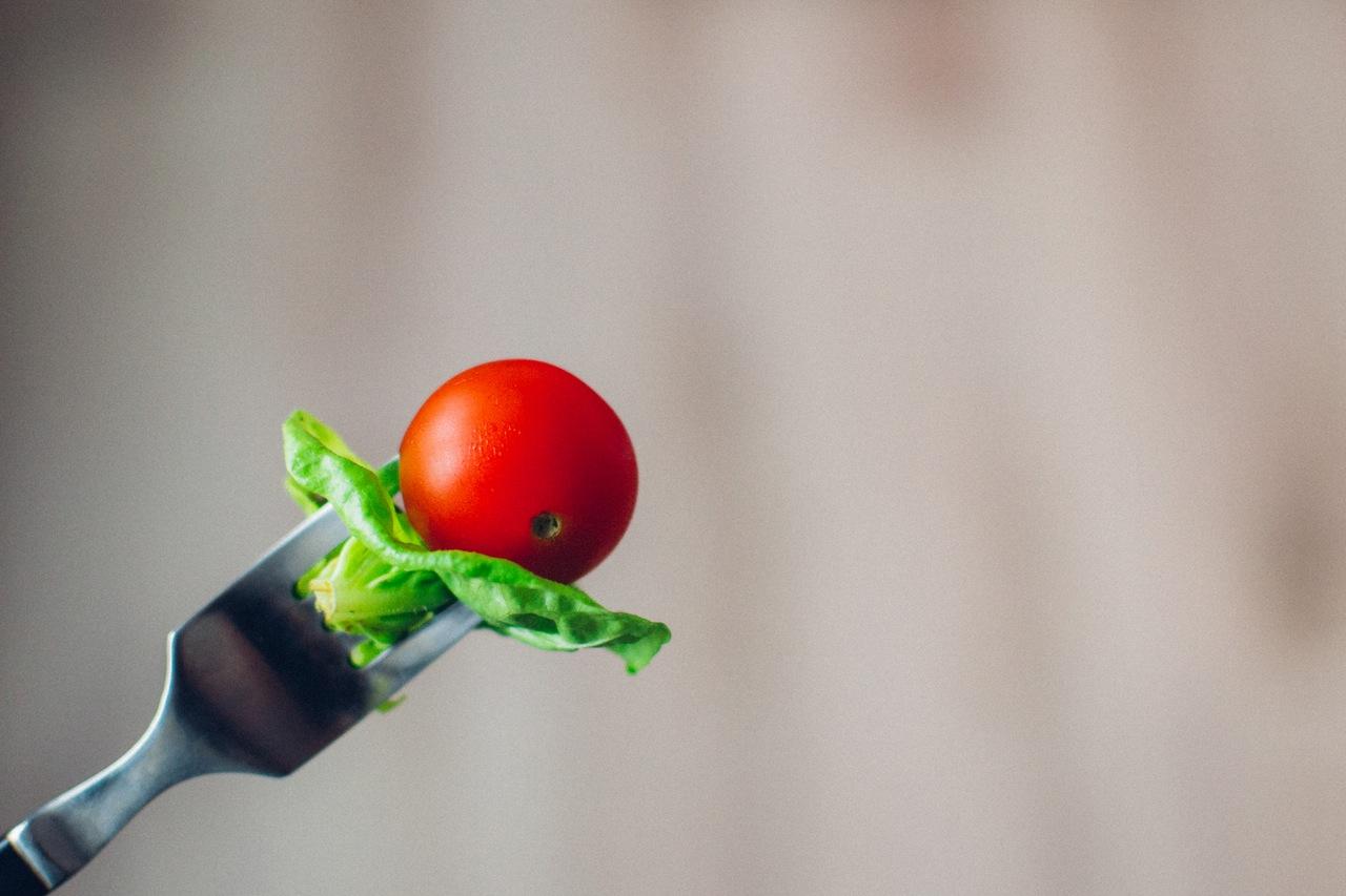 tomato on fork