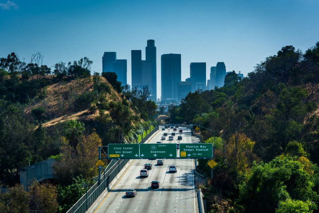 View of the 110 Freeway and Los Angeles Skyline from the Park Row Drive Bridge, in Los Angeles, California
