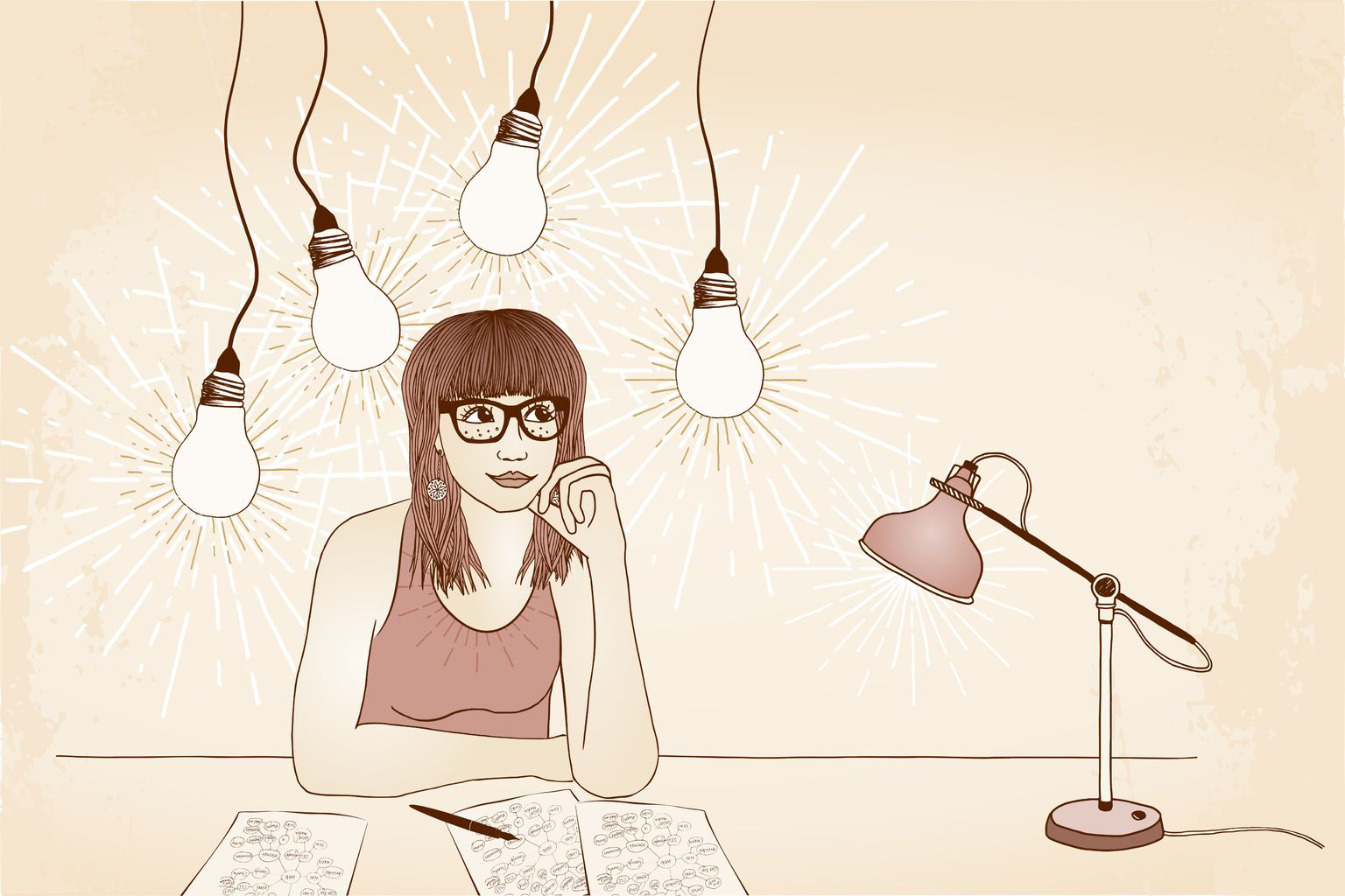 48042947 - hand drawn illustration of a young woman with glasses, thinking and imagining new and innovative ideas