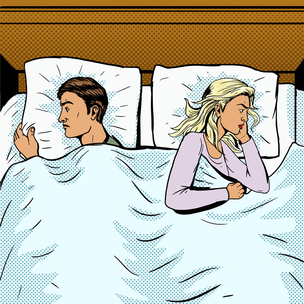 51266003 - young couple in bed offended pop art style vector illustration. comic book style imitation. newlyweds in bed. married couple