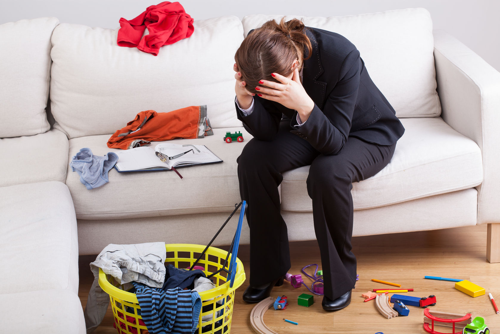 24958367 - woman who work and care of house is exhausted and stressed of her workload