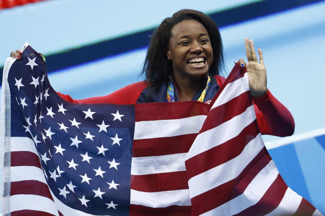 Shoutout to Olympian Simone Manuel, the first black woman to take a gold in swimming!