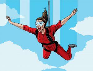 20342471 - happy parachuting girl