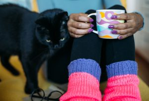 33090174 - black cat rubbing against woman drinking tea on couch