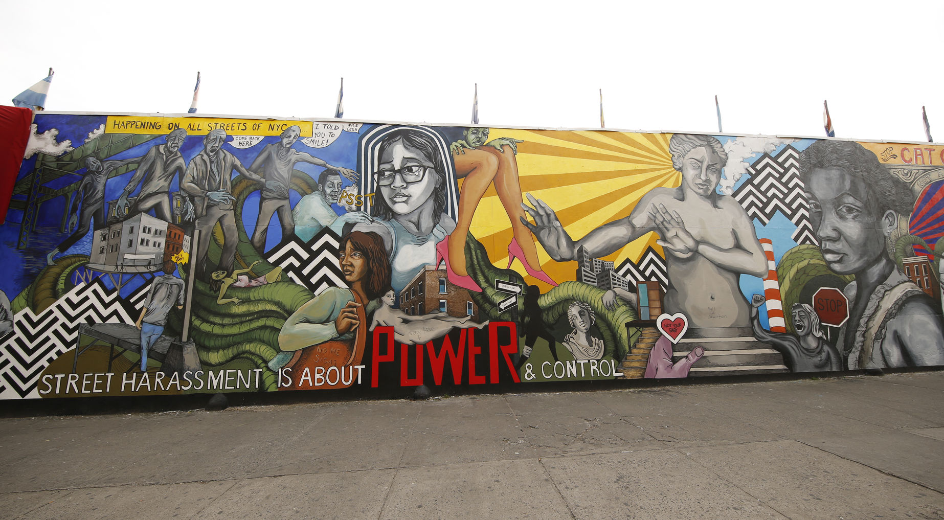 50813207 - new york - january 7, 2016: street harassment themed mural in brooklyn