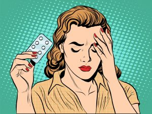51614674 - woman with headache pills pop art retro style. medicine and womens health. pharmacology tablet drug