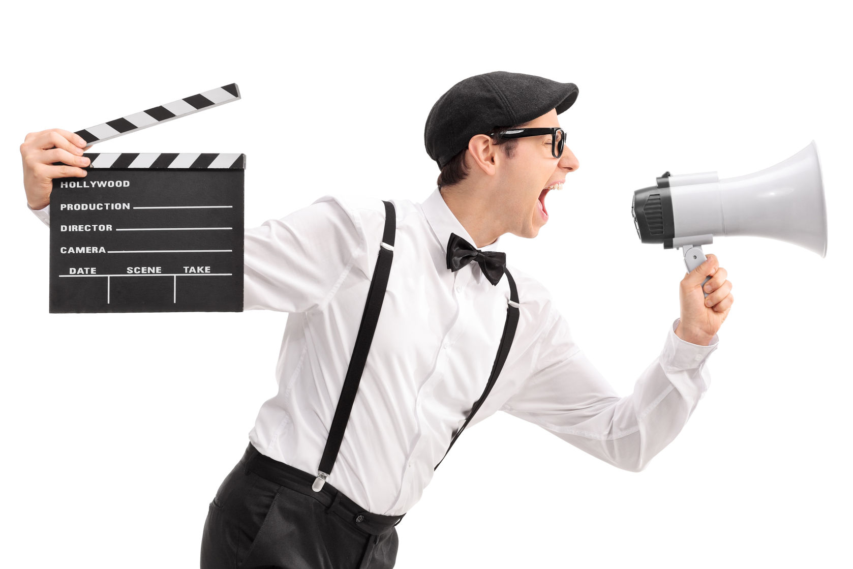 42870735 - young movie director holding a clapperboard and shouting on a megaphone isolated on white background