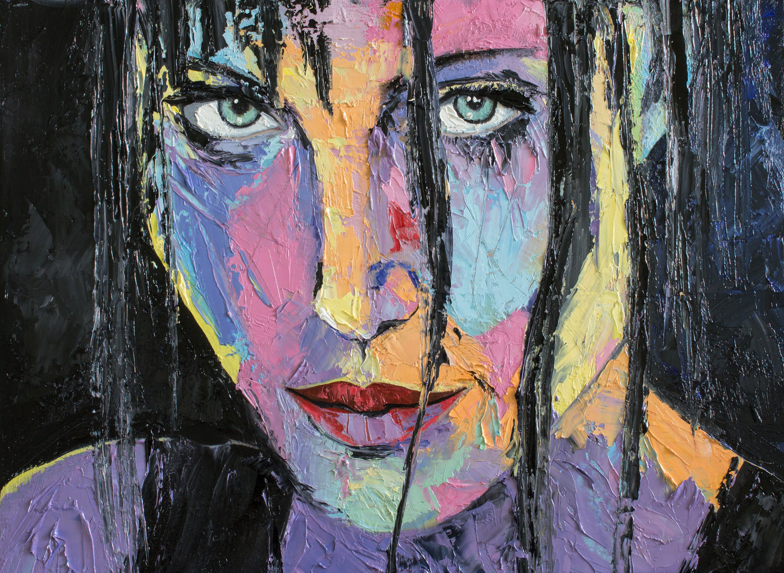 "47935701 - fatnasy portrait of a girl in gestural style. original oil painting ""i know""."